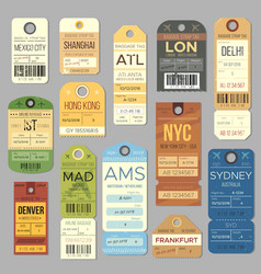 Luggage carousel baggage vintage tag symbols old vector