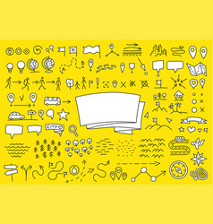 Map set yellow doodle background geographical vector