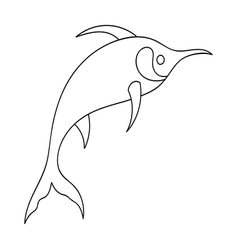 Marlin fish icon in outline style isolated on vector