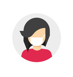 medical face mask on woman person icon flat vector image