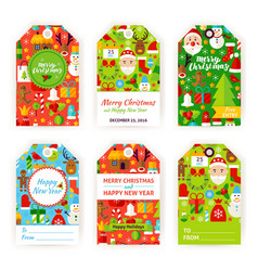 Merry christmas gift tag labels vector