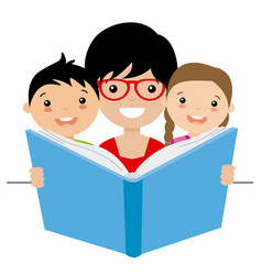 Mom reading a story to her children vector