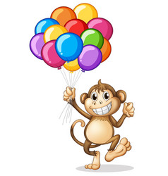 Monkey holding colorful balloons vector