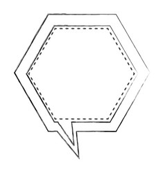 Monochrome blurred contour of hexagon frame vector