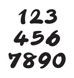 numbers 0-9 written with a brush on a white vector image