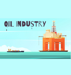 Offshore platform industrial composition vector