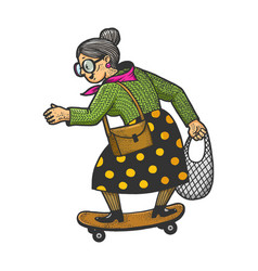 old woman rides on skateboard sketch vector image