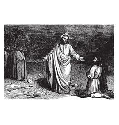 one of ten healed lepers returns to praise jesus vector image
