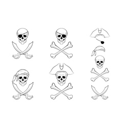pirate skull set design templates vector image