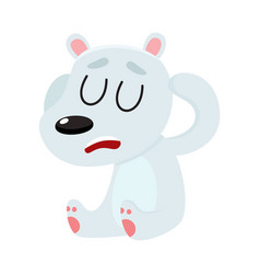 Polar bear having headache sitting with closed vector