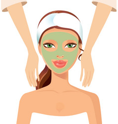 Portrait of happy woman receiving face massage at vector