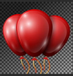 Realistic red balloons with ribbons isolated vector