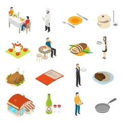 Restaurant Cafe Bar Isometric Icons Set vector image