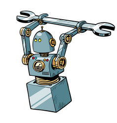 robot with a wrench vector image