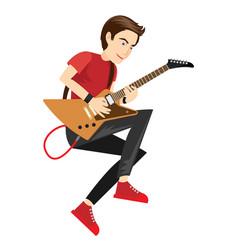 rock star guitarist performance in vector image