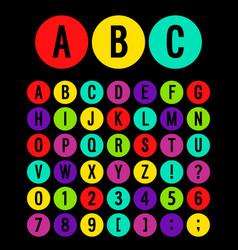 round icons alphabet vector image