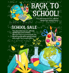 Sale banner with school supplies on chalkboard vector