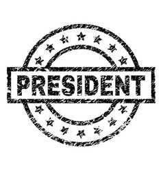 Scratched textured president stamp seal vector
