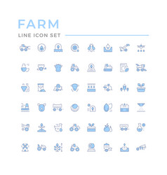 set color line icons farming and agriculture vector image