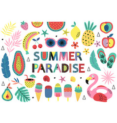 Set isolated elements summer paradise vector