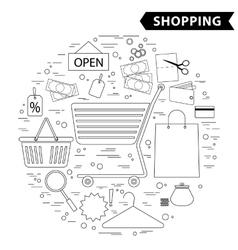 Shopping line icon set black white vector image