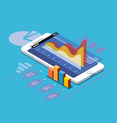 smartphone with statistics vector image