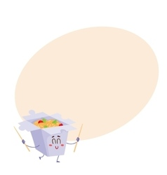 Smiling Japanese noodle in paper box character vector