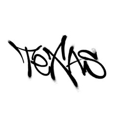 Sprayed texas font graffiti with overspray in vector