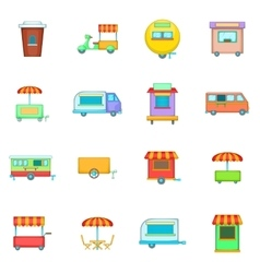 Street food kiosk vehicle icons set cartoon style vector image