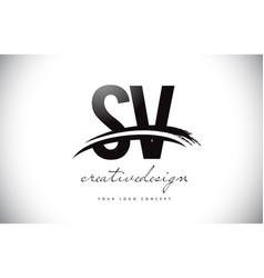 Sv s v letter logo design with swoosh and black vector