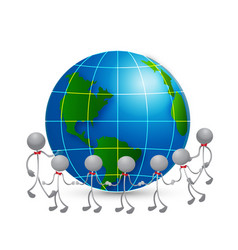 teamwork people around world map logo vector image