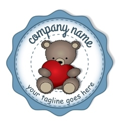 Teddy bear with the big heart -circular label vector image