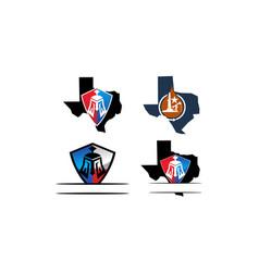 texas shield template set vector image