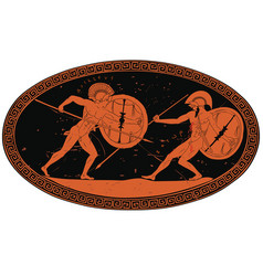 two ancient greek warrior vector image