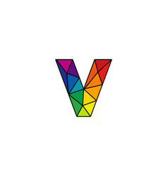 V colorful low poly letter logo icon design vector