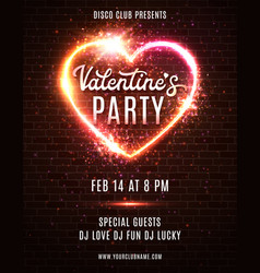 valentines day party poster flyer design template vector image