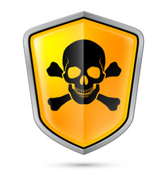 warning sign on shield indicating of skull vector image