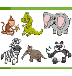 wild animals cartoon set vector image