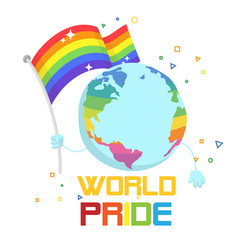 world pride earth hold rainbow flag background vec vector image
