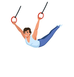 Young guy training on rings apparatus artistic vector