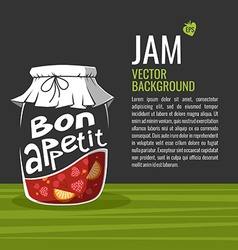 Bon appetit jam jar drawing vector