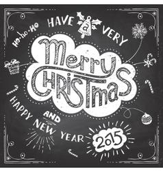Merry Christmas doodle chalkboard vector image