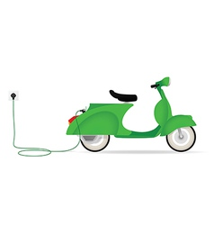 Vintage styled electric moped charging vector image
