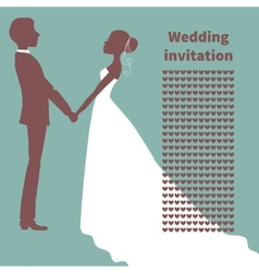 Wedding invitation Silhouette of bride and groom vector image