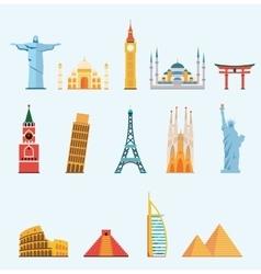 World famous travel landmarks vector image vector image