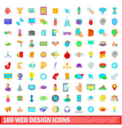 100 web design icons set cartoon style vector image vector image
