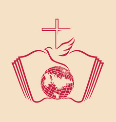 Bible cross and dove vector