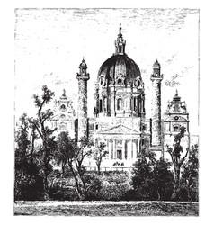 Church at st charles borromeo karlskirche vintage vector