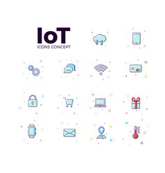 concept internet of things icons icons of iot in vector image