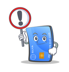 credit card character cartoon with sign vector image vector image